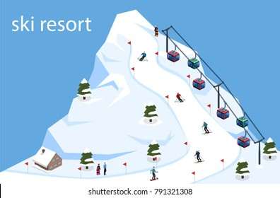 Isometric 3D vector illustration ski resort with a cable car on the mountain