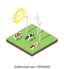 Isometric 3d vector illustration of windmill and cows. Alternative energy. Icon for web. Isolated on white background.