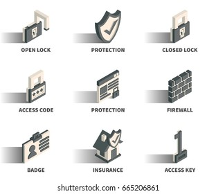 Isometric 3D web icon set - Lock, protection, access code, firewall, badge, insurance, key