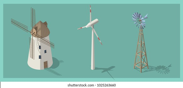 Isometric 3d wind mills, rural building set. Alternative energy collection. Isolated models, flat, cartoon style. Agriculture concept. Environmental friendly. Web icon. Alternative sources of energy.