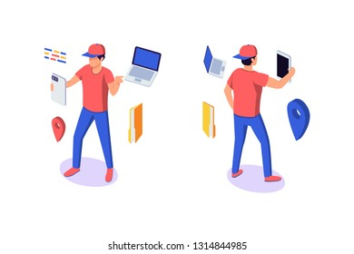 Isometric 3d young man character with gadgets around. Concept modern urban student with mobilephone, laptop, folder and point. Low poly. Vector illustration.