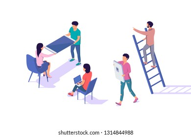 Isometric 3d young man and woman characters with items. Concept modern urban people with mobilephone, laptop, chair and portable ladder. Low poly. Vector illustration.