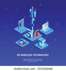 Isometric 5g internet color background with images of telecommunication tower and electronic devices with editable text vector illustration