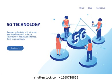 Isometric 5g internet horizontal banner with white background and clickable website links with text and people vector illustration