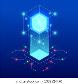 Isometric abstract blue cube design. Digital Technology Web Banner. BIG DATA Machine Learning Algorithms. Analysis and Information.