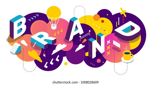 Isometric abstract branding horizontal design with decor element. Vector creative illustration of 3d word brand lettering typography on colorful background. Composition template of business banner