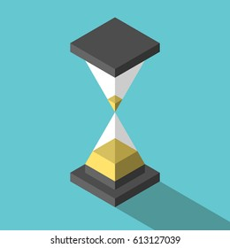 Isometric abstract simple hourglass with yellow sand on turquoise blue background with drop shadow. Time, countdown and waiting concept. Flat design. No transparency, no gradients