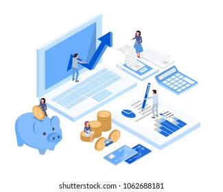 isometric accountant workspace elements money coins and financial stock graphs vector illustration