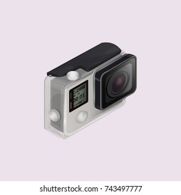 Isometric action camera in waterproof box. Vector illustration Go pro camera isolated on background. Equipment for filming extreme sports. 3d