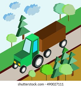 Isometric agricultural equipment, farm tractors, trailers and pickup. Vector illustration