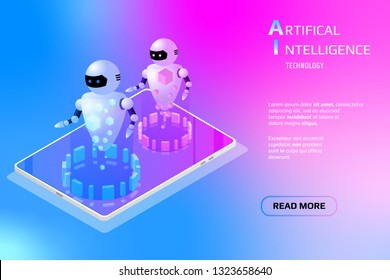 Isometric AI Element Mobile Device Security Communication Data Transfer Technology. Abstract Digital Robot Gadget For Webpage UI App Illustration