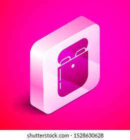 Isometric Air headphones in box icon icon isolated on pink background. Holder wireless in case earphones garniture electronic gadget. Silver square button. Vector Illustration