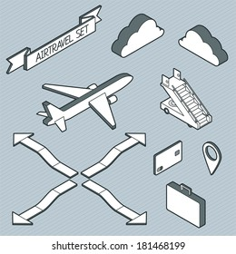 Isometric air travel info graphic set