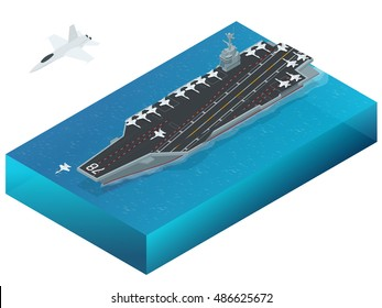 Isometric Aircraft assigned to the nuclear-powered aircraft carrier  (CVN). Military sea transport.