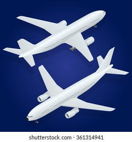 Isometric Airplane passenger plane.  An airliner, aircraft for transporting passengers and air cargo.