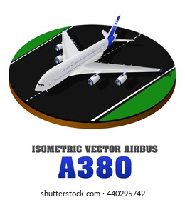 Isometric airplane.Top view. Vector illustration. Airplane landing or taking off of runway. Airplane A 380 model. Picture of civilian plane standing on landing strip, flat style illustration.