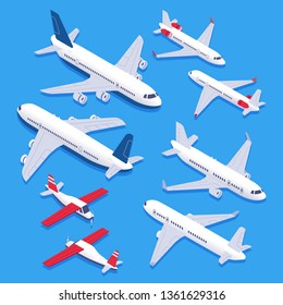 Isometric airplanes. Passenger jet airplane, private aircraft and airline plane. Aviation planes, aerial flight vehicles or aircraft private airplanes 3d isolated vector icons set