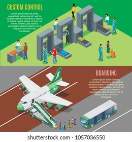 Isometric airport horizontal banners with security gates control and airplane boarding process vector illustration
