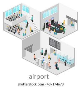 Isometric airport scenes. Flat 3D vector illustration.