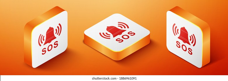 Isometric Alarm bell and SOS lettering icon isolated on orange background. Warning bell, help sign. Emergency SOS button. Orange square button. Vector.