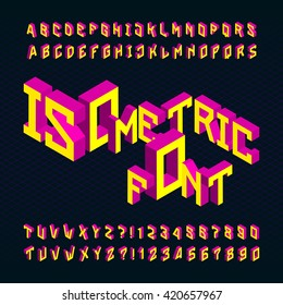 Isometric alphabet font. 3D bright letters and numbers on a dark background. Stock vector typography for your design.