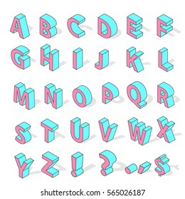 Isometric alphabet font isolated vector. Old school style alphabetical design elements grunge retro design