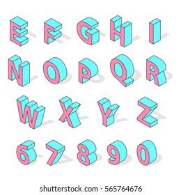 Isometric alphabet font isolated vector.