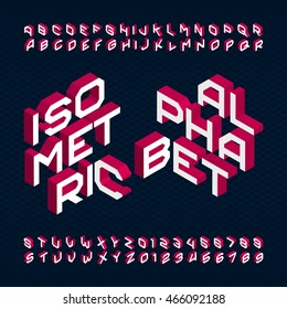 Isometric alphabet font. Type letters and numbers. Stock vector typeface for your design.