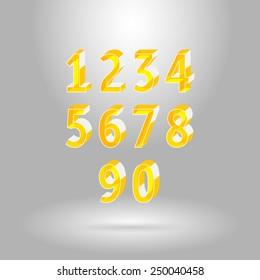 Isometric Alphabet Font.Numbers set 0,1,2,3,4,5,6,7,8,9,0.Vector illustration
