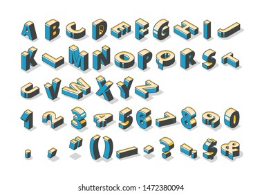 Isometric alphabet, numbers and punctuation marks standing and lying in row on white background. Abc uppercase letters, typography 3d elements, signs, symbols. Vector illustration in line art style