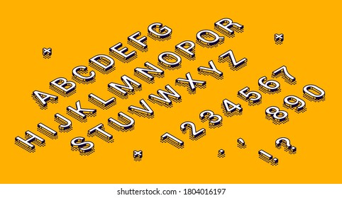 Isometric alphabet, numbers and punctuation marks lying in row on yellow background. Abc uppercase letters and digits typography 3d elements, signs, symbols. Vector characters in line art style Set