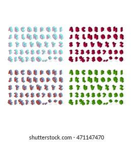 Isometric alphabet typography text and isometric alphabet perspective letter art