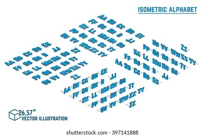 Isometric alphabet vector font. Isometric small and capital letters, numbers and symbols. Three-Dimensional stock vector typography for headlines, posters etc.