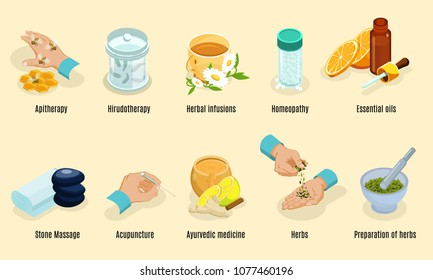 Isometric alternative medicine elements set with aritherapy hirudotherapy herbs homeopathy oils stone massage acupuncture ayurvedic treatment isolated vector illustration