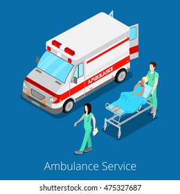 Isometric Ambulance Service with Emergency Car, Nurse Doctor and Patient. Vector illustration