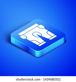 Isometric American football shorts icon isolated on blue background. Football uniform sign. Blue square button. Vector Illustration