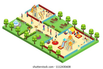 Isometric amusement park concept with parents children visiting playground with different slides and swings isolated vector illustration