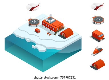 Isometric Antarctica station or polar station with buildings, meteorological research measurement tower, vehicles, helipad.