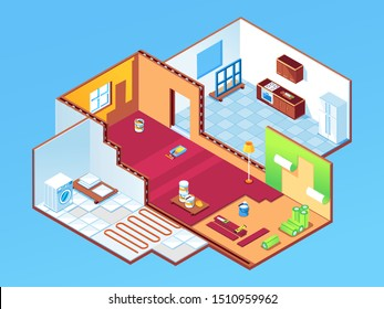 Isometric apartment during repair or house, home rooms at renovation. Indoor design for bedroom, guest room and kitchen restoration. Wallpapering, underfloor heating, window mount. Indoor work