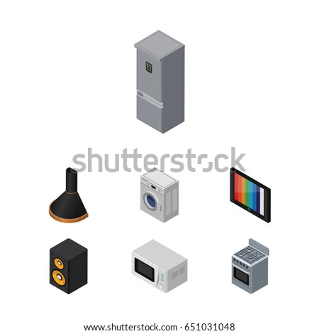 Isometric Appliance Set Of Air Extractor, Kitchen Fridge, Music Box And  Other Vector Objects