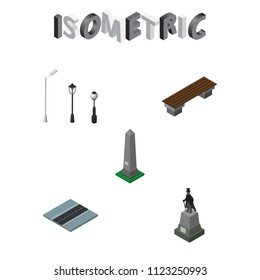 Isometric architecture set of city lights, seat, road and other vector objects. Also includes monument, way, lanterns elements.