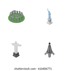 Isometric Architecture Set Of England, New York, Rio Vector Objects.