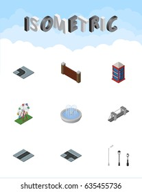 Isometric Architecture Set Of Path, Recreation, Street Lanterns And Other Vector Objects. Also Includes Phone, Park, Turn Elements.