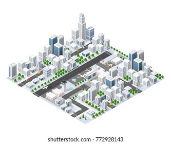 Isometric area landscape skyscrapers for constructing the design and construction of dimensional city for creativity and conceptual presentation