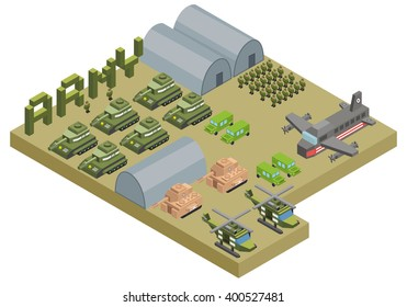 Isometric army base camp with tank helicopter military