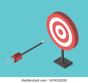 Isometric arrow flying into target on turquoise blue background. Goal, achievement, and targeting concept. Flat design. EPS 8 vector illustration, no transparency, no gradients