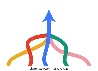 Isometric arrow formed by multiple merging colorful lines on white background. Partnership, merger, alliance and integration concept. Flat design. Vector illustration, no transparency, no gradients