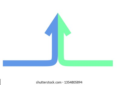Isometric arrow formed by two merging blue and green lines on white background. Partnership, merger, alliance and integration concept. Flat design. Vector illustration, no transparency, no gradients