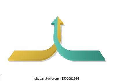 Isometric arrow formed by two merging yellowand green lines on white background. Partnership, merger, alliance and integration concept. Vector illustration, with shadow and gradient