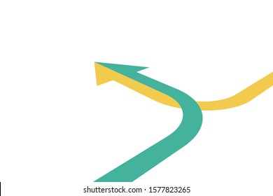 Isometric arrow formed by two merging yellow and green lines on white background. Partnership, merger, alliance and integration concept. Flat design. Vector illustration, no transparency, no gradients